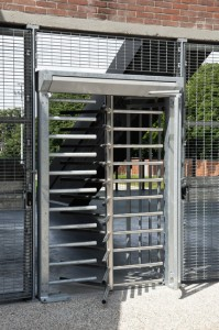 turnstile door to the input of a stadium.